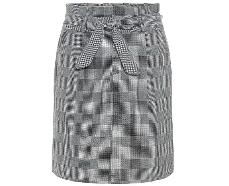 Vero Moda Dámska sukňa Eva HR Paperbag Short Check Skrt Noos Grey/White