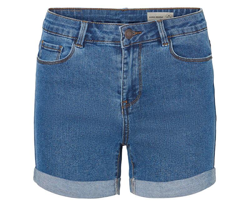 Vero Moda Dámske kraťasy Hot Seven Nw Dnm Fold Shorts Mix Noos Medium Blue Denim