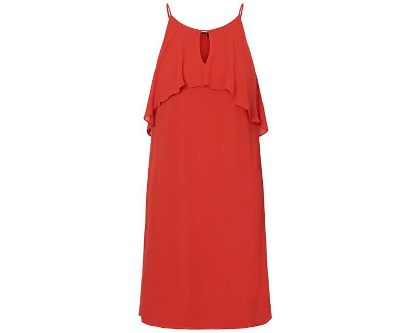 Vero Moda Dámske šaty Alba S/L Abk Dress Wvn Fiery Red