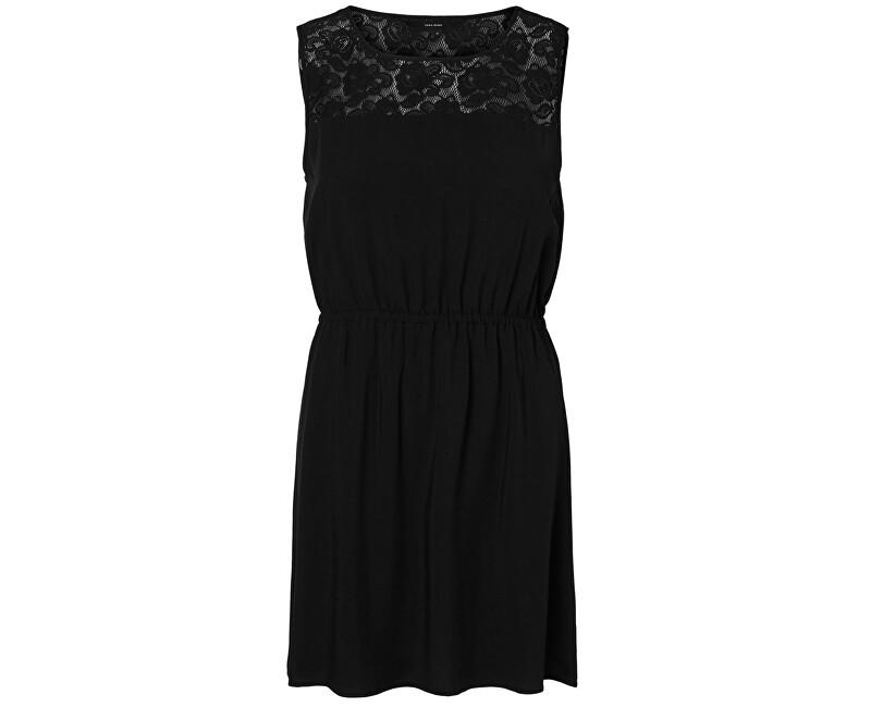 Vero Moda Dámske šaty Boca S/L Lace Short Dress Black