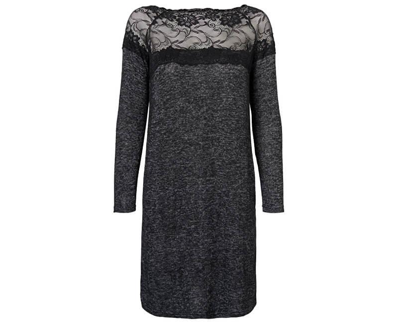 Vero Moda Dámské šaty Cima Lace Ls Dress Dark Grey Melange W.Black Lace