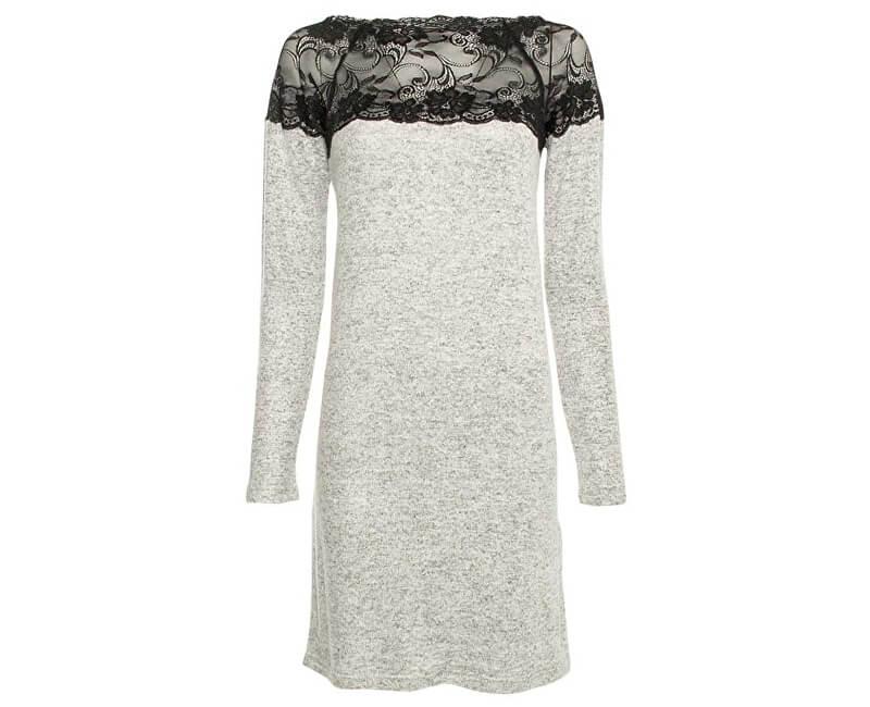 Vero Moda Dámské šaty Cima Lace Ls Dress Light Grey Melange W.Black Lace