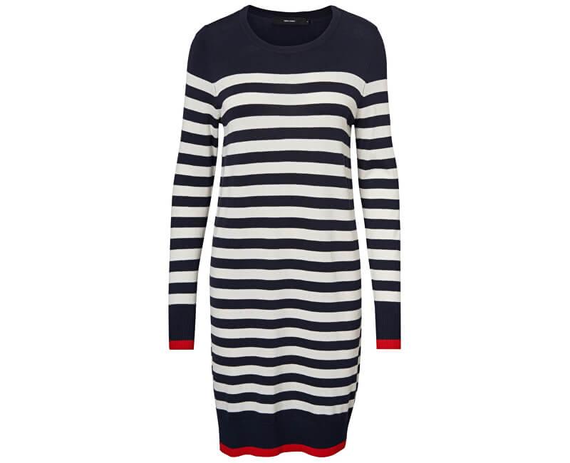 Vero Moda Dámské šaty Doss Lacole Ls O-neck Dress Boo Night Sky W.Snow White And Fiery Red Contrast