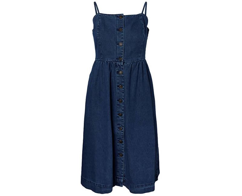 Vero Moda Dámske šaty Flavia Strap Button Midi Dress Medium Blue Denim