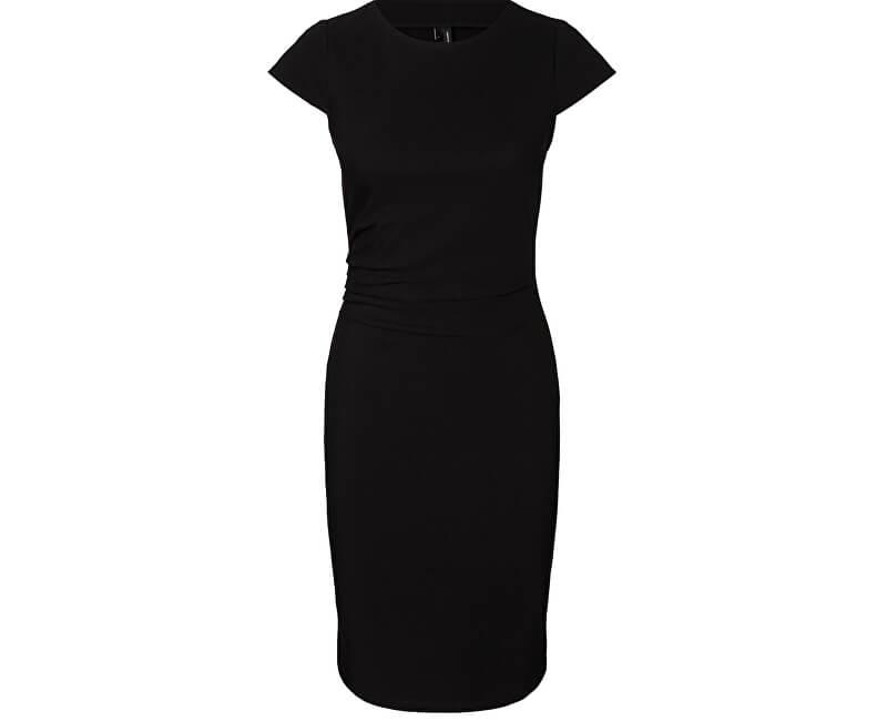 Vero Moda Dámske šaty Jonie Cap Sleeve Hab Dress Noosa Black