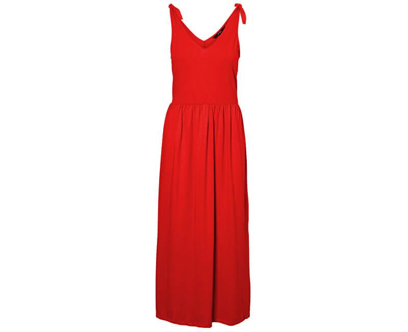 Vero Moda Dámske šaty Rebecca Sl Knot 7/8 Dress Ga Jrs Pl Fiery Red