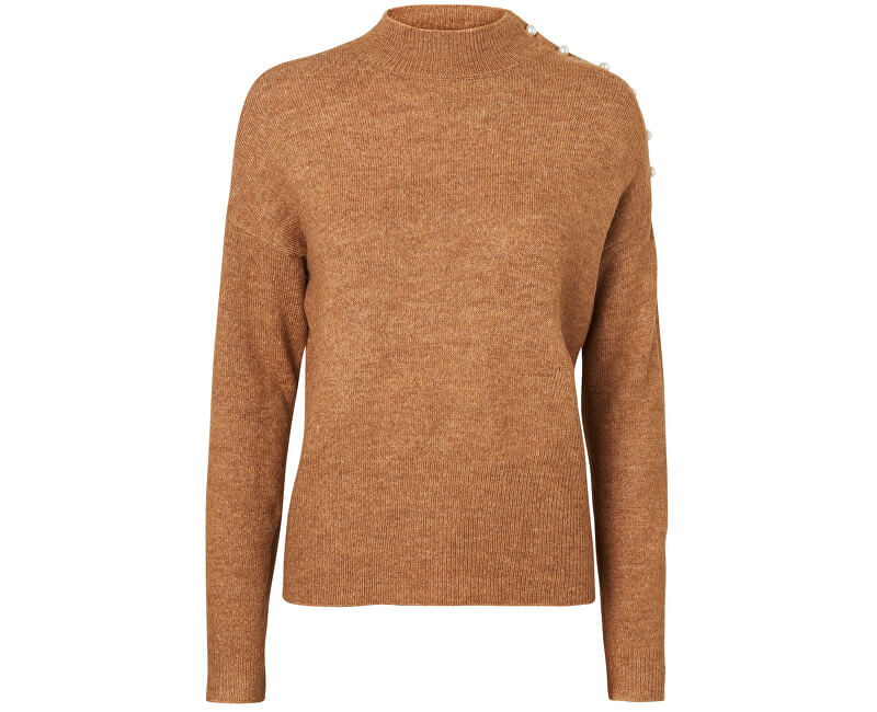 Vero Moda Dámsky sveter Lagoura Pearl Ls Highneck Blouse Tobacco Brown Melange W.Pearls