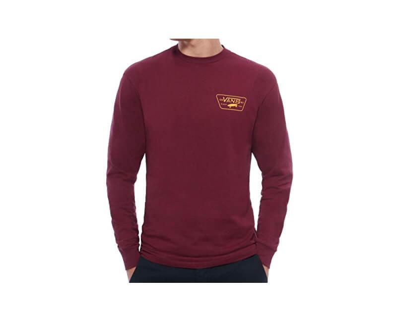 VANS Pánské triko Full Patch Back Ls Burgundy/Mineral Yellow VA2XCMO7J