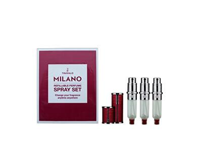 Milano - plnitelný flakon 3 x 5 ml (tmavě růžový)