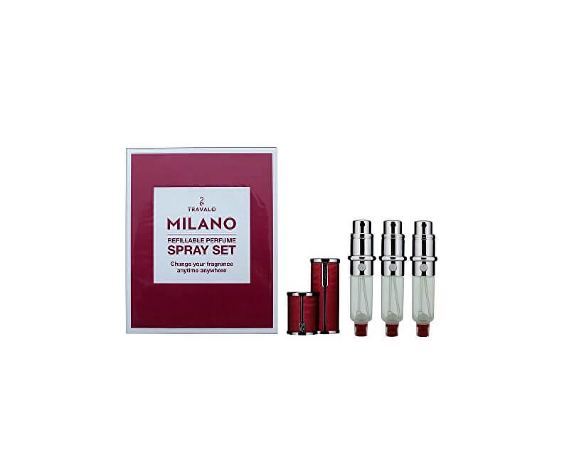 Travalo Milano - plnitelný flakon 3 x 5 ml (tmavě růžový)