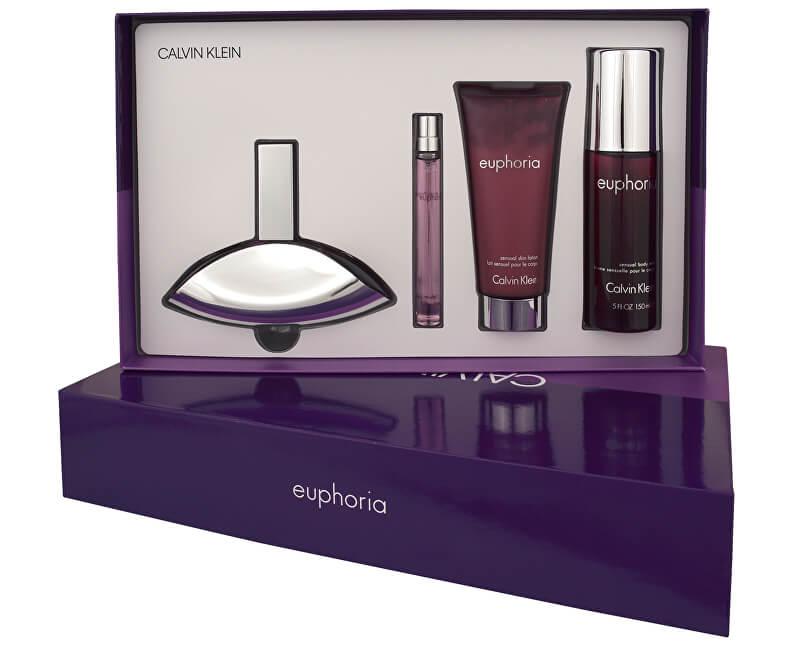 Calvin Klein Euphoria - EDP 100 ml + tělové mléko 100 ml + tělový závoj 150 ml + EDP 10 ml