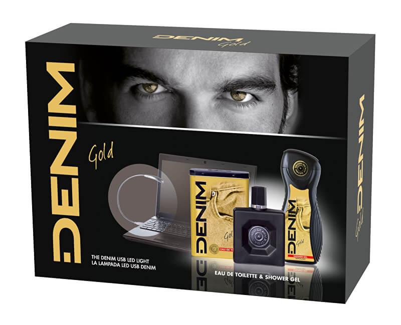 Denim Gold - EDT 100 ml + sprchový gel 250 ml + světlo k počítači