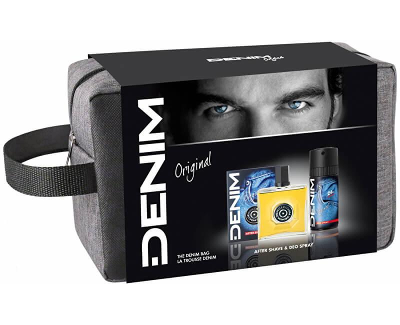 Denim Original - voda po holení 100 ml + deodorant ve spreji 150 ml + taštička