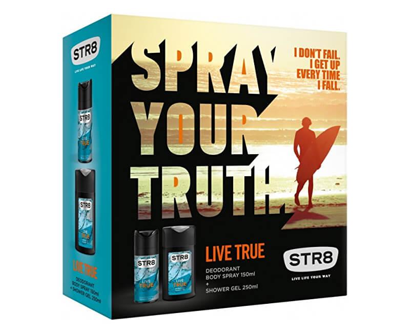 STR8 Live True - deodorant s rozprašovačem 85 ml + sprchový gel 250 ml
