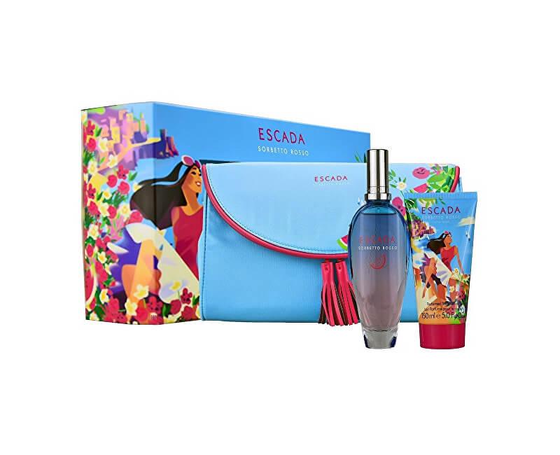 Escada Sorbetto Rosso - EDT 100 ml + tělové mléko 150 ml + kosmetická taštička