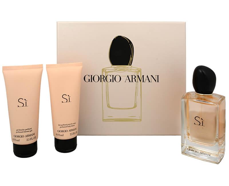 Armani Sì - EDP 100 ml + tělový krém 75 ml + sprchový gel 75 ml