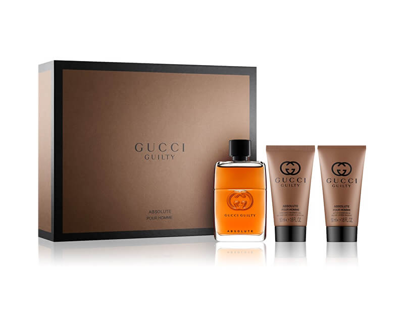 Gucci Guilty Absolute - EDP 50 ml + balzám po holení 50 ml + sprchový gel 50 ml