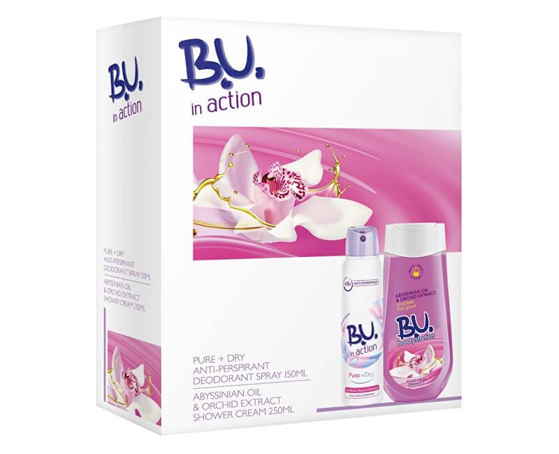 B.U. In Action Pure + Dry - deodorant ve spreji 150 ml + sprchový krém Orchidej - 250 ml