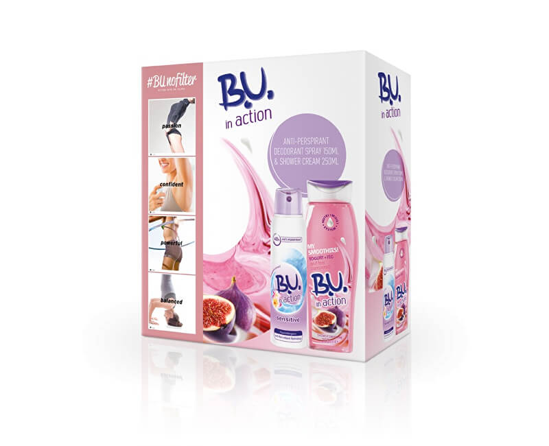 B.U. In Action Sensitive - deodorant ve spreji 150 ml + Jogurt & fík - sprchový krém 250 ml