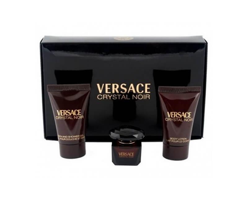 Versace Crystal Noir - EDT 5 ml + balzám po holení 25 ml + sprchový gel 25 ml - SLEVA - pomačkaná krabička
