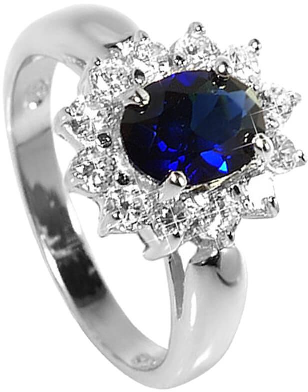 Brilio Silver Strieborný prsteň s modrým kryštálom 5121615S ... 6b6a59ea4b7