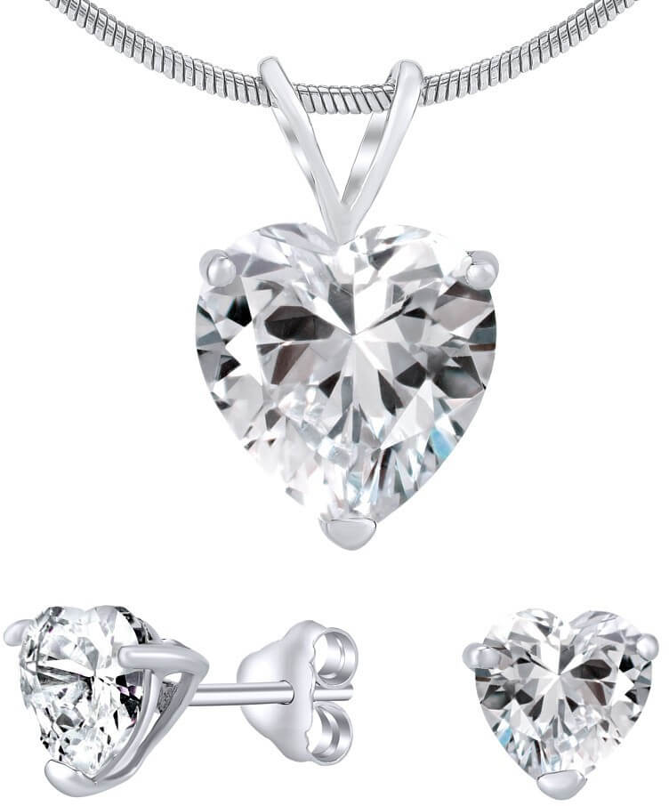 50a868abf Silvego Strieborný set šperkov s čírym krištáľom JJJHEART01 (náušnice,  prívesok)