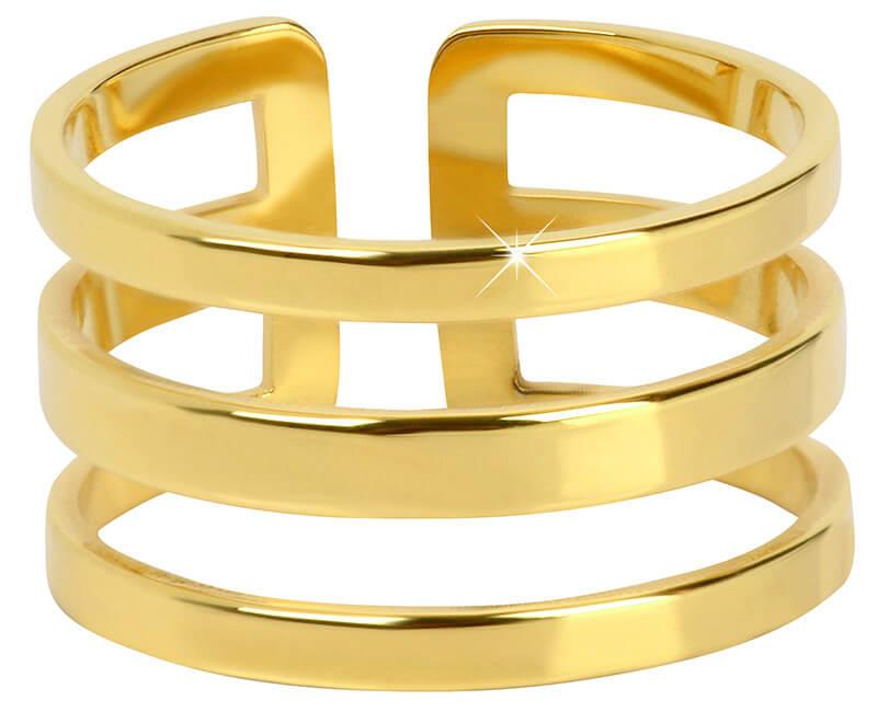Troli Stylový trojitý prsten z pozlacené oceli  dde1d32bac