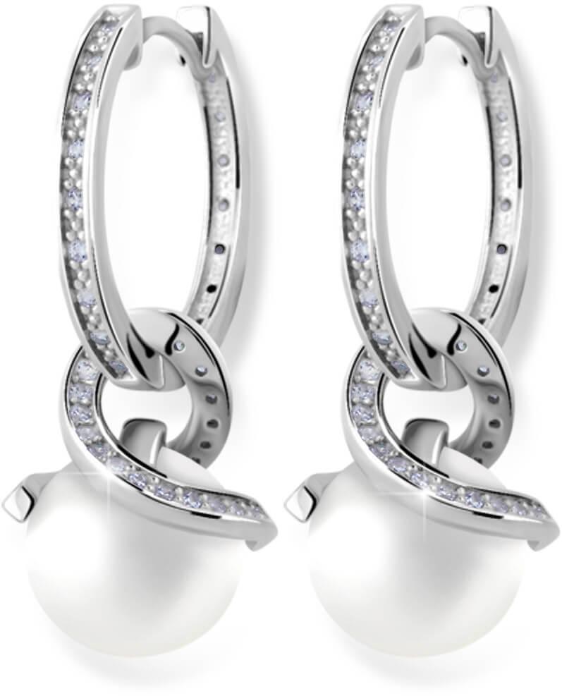 Zodiax Náušnice kroužky z bílého zlata s přírodní perlou a zirkony DLE 3126  W 7a8b8cffd0f