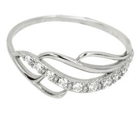 Prsteň z bieleho zlata s kryštálmi 229 001 00624 07 - 1,30 g