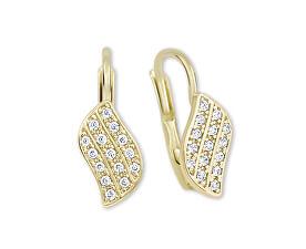 Zářivé náušnice ze žlutého zlata s krystaly 239 001 00648
