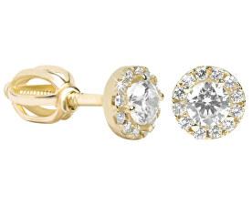 Zlaté kulaté náušnice s čirými krystaly 239 001 00806