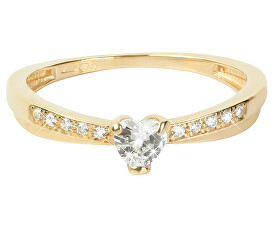 Zlatý prsten Srdce s krystaly 229 001 00750