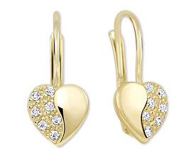 Brilio Zlaté srdíčkové náušnice s krystaly 239 001 00880 - 1 d96fa3f9018