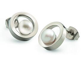 Titanové náušnice s perličkami 05017-01