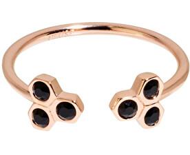 Bronzový prsteň s čiernymi kryštálmi CLJ40008
