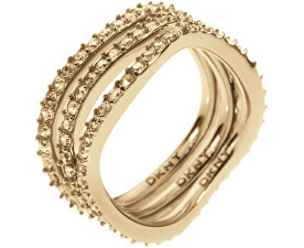 Trojitý zlatý prsten s krystaly NJ1920040