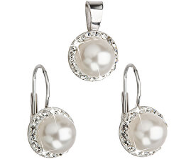 Sada s perlami a krystaly Swarovski 39091.1 bílá