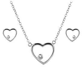 Stříbrná srdíčková souprava 39163.1 (náušnice, náhrdelník)