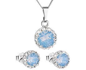 Třpytivá souprava šperků 39152.7 blue opal (náušnice, řetízek, přívěsek)