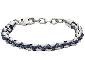 Pánský ocelovo-kožený náramek JF02679040