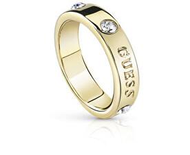 Módní pozlacený prsten s krystaly Hoops UBR84029