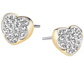 Cercei placați cu aur, inimă cu cristale UBE71515