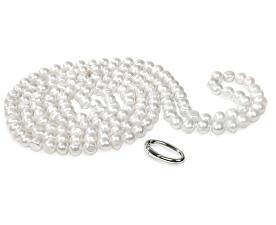 Dlhý náhrdelník z bielych pravých perál JL0076