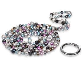 Dlouhý náhrdelník z pravých barevných perel JL0182
