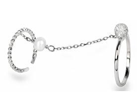 Exkluzivní dvojprsten s perlou a zirkony JL0178