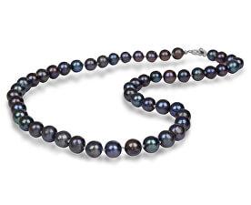 Colier cu perle reale albastru metalizat JL0265