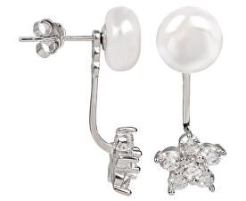 Stříbrné dvojnáušnice s pravou bílou perlou a zirkonovou kytičkou JL0281