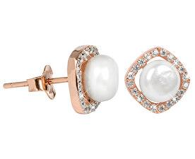 Stříbrné náušnice s pravou bílou perlou a krystaly JL0252
