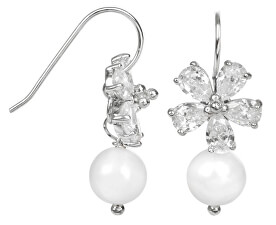 Stříbrné náušnice s pravou bílou perlou JL0093