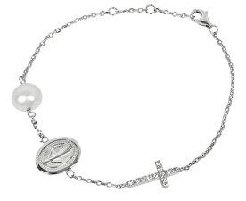 Luxusní stříbrný náramek s pravou perlou a zirkony JL0201